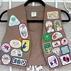 Vintage Girl Scout Vest with Badges - early 90's